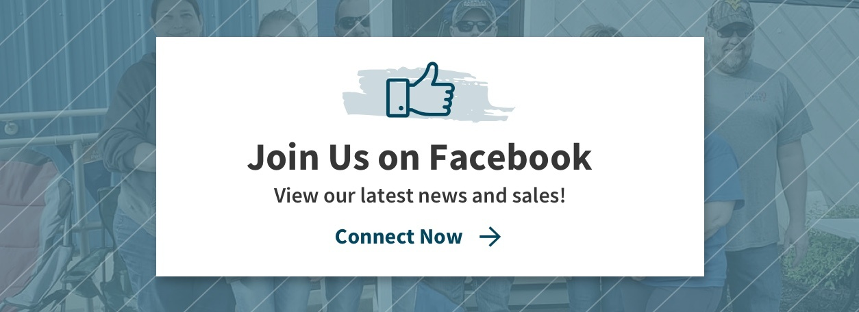 Join Us on Facebook - View our latest news and sales! with thumbs up icon and blue background