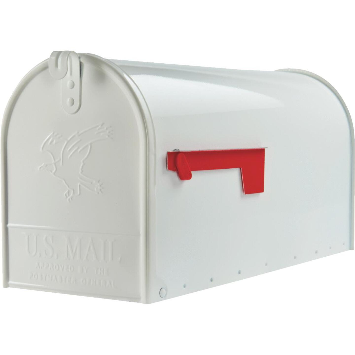 Gibraltar Elite T2 Large White Steel Rural Post Mount Mailbox Image 2