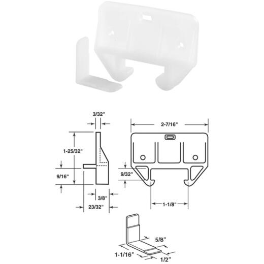 "Prime-Line 1/4"" x 1-1/16"" Polyethylene White Track Guide (2 Count)"