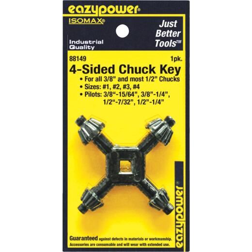 Eazypower 3/8 In. and 1/2 In. 4-Sided Chuck Key with 15/64 In., 1/4 In., 17/64 In. Pilots