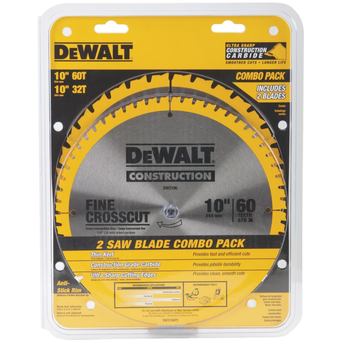 DeWalt Construction 10 In. Assorted Circular Saw Blade Set (2-Pack) Image 2
