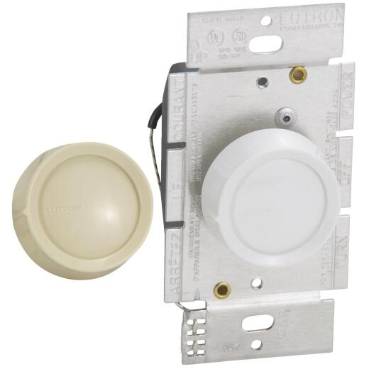 Lutron White/Ivory 600W Single-Pole Rotary Dimmer Switch