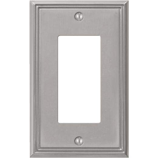 Amerelle Metro Line 1-Gang Cast Metal Rocker Decorator Wall Plate, Brushed Nickel