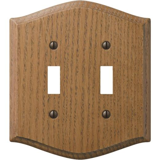 Amerelle Country 2-Gang Solid Oak Toggle Switch Wall Plate, Medium Oak