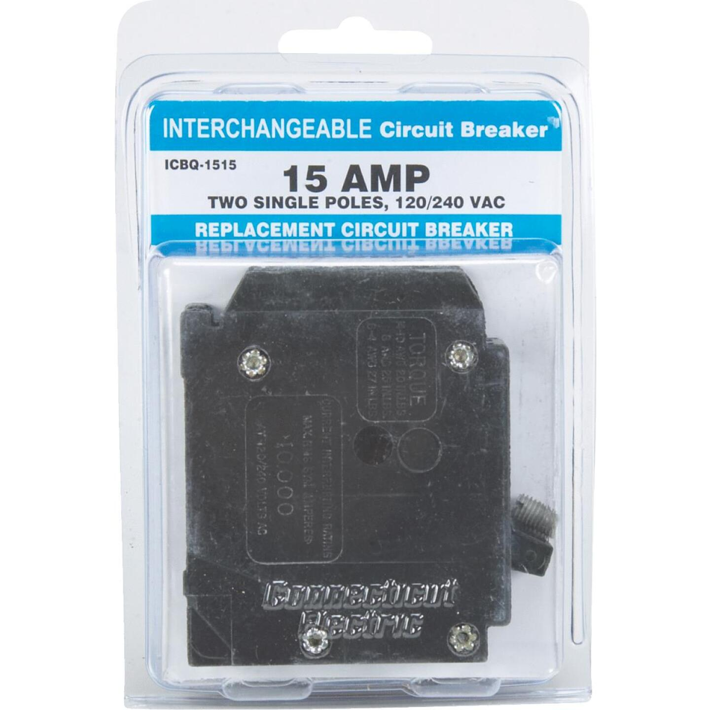 Connecticut Electric 15A/15A Twin Single-Pole Standard Trip Interchangeable Packaged Circuit Breaker Image 2