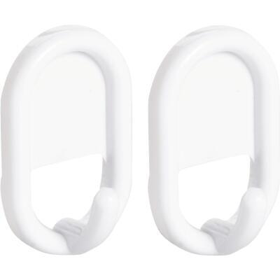 InterDesign Utility White Plastic Adhesive Hook (2-Pack)