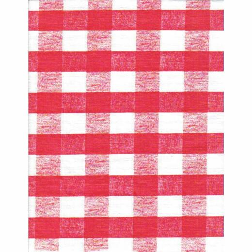 Nordic Shield 54 In. W. x 15 Yd. L. Chess Check Red Flannel Backed Vinyl Tablecloth