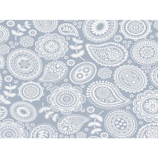 Con-Tact Grip Print 18 In. x 4 Ft. Paisley Pewter Non-Adhesive Shelf Liner