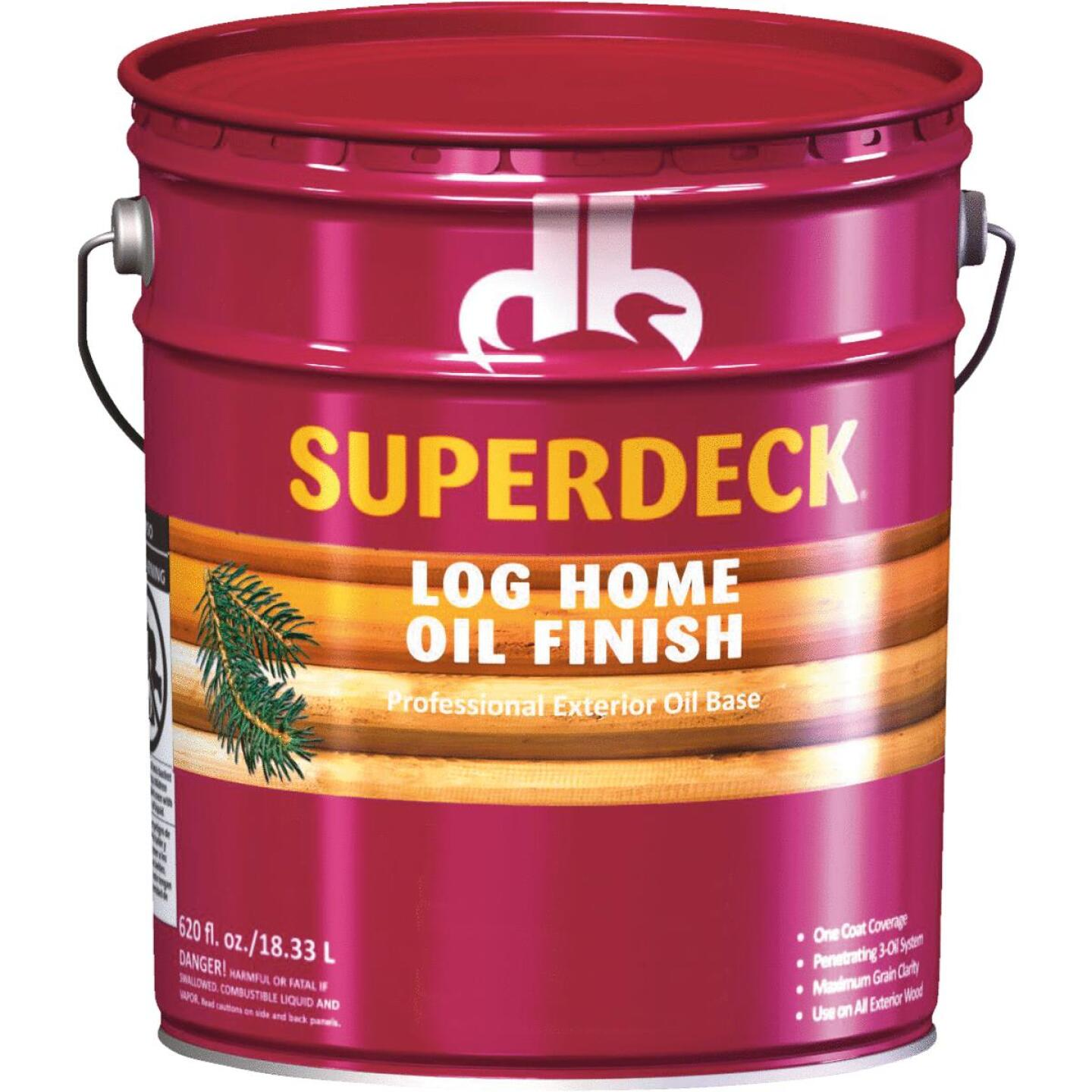 Duckback SUPERDECK Translucent Log Home Oil Finish, Golden Honey, 5 Gal. Image 1