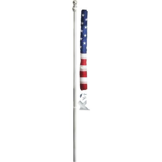 Valley Forge 2.5 Ft. x 4 Ft. Nylon American Flag & 5 Ft. Spinning Pole Kit