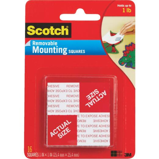 3M Scotch 1 In. x 1 In. 1 Lb. Capacity Removable Mounting Squares (16-Pack)